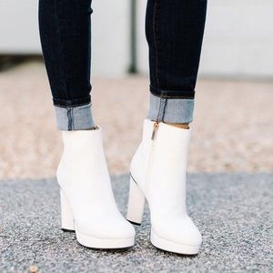 White platform ankle booties